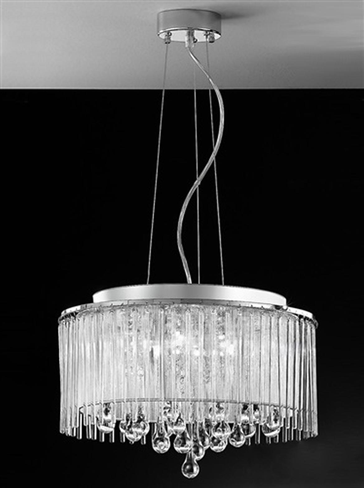 Franklite Spirit 6 Light Crystal Chrome Pendant Ceiling Fitting FL216