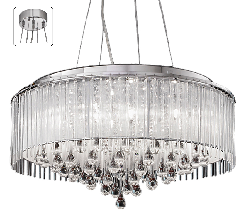 franklite spirit 8 light ceiling pendant light 600mm chrome