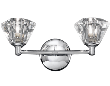 Franklite Twista 2 Light Wall Light, Chrome With Clear Crystal Glasses - FL2162/2