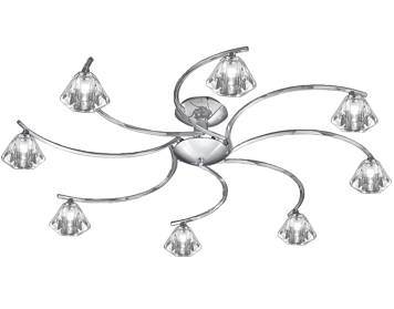 Franklite Twista 8 Light Semi-Flush Ceiling Light, Chrome With Clear Crystal Glasses - FL2163/8