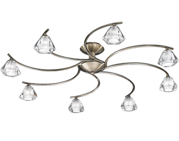Franklite Twista 8 Light Semi-Flush Ceiling Light, Bronze With Clear Crystal Glasses - FL2163/8