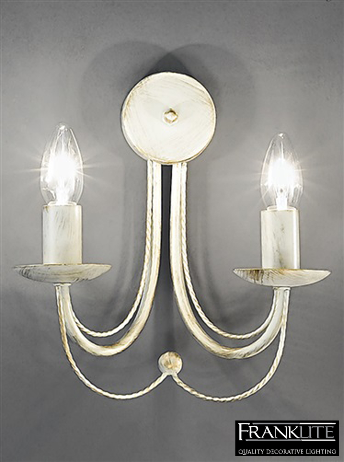 Franklite Philly Cream Ironwork Twin Wall Light - FL2172/2 from Easy Lighting