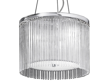 Franklite Eros 3 Light Pendant Light, Chrome Finish With Lurex Shade & Surrounded by Glass Rods - FL2191/3