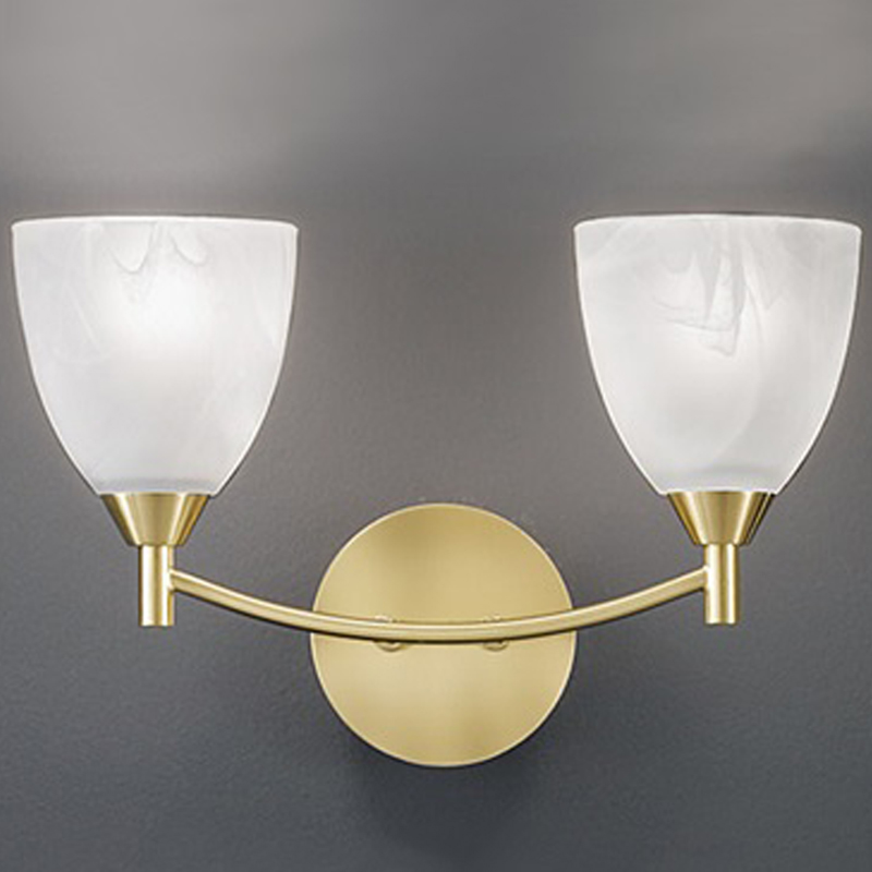 Glass Lamp Shades Wall Lights : Franklite Emmy 2 Light Wall Light, Chrome Finish With Satin Opal Glass Shade - FL2087/2 from ...