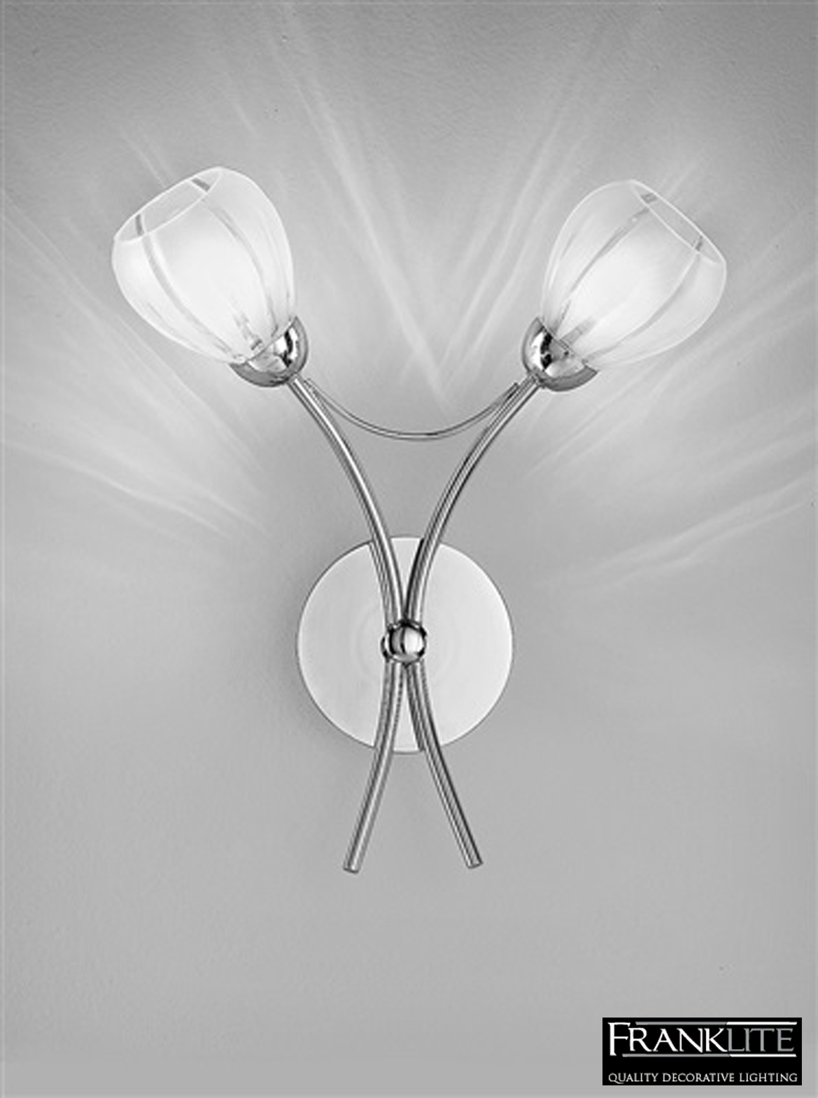 Franklite Chloris Chrome Amp Frosted Glass 2 Light Wall