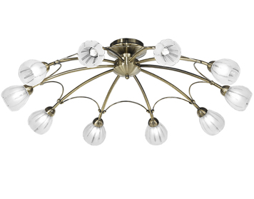 Franklite Chloris 10 Light Semi Flush Ceiling Light, Brass Finish With Frosted Glass - FL2207/10