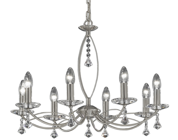 Franklite Monaco 8 Light Ceiling Light, Satin Nickel Finish With Crystal Glass Sconces & Faceted Drops - FL2225/8