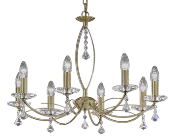 Franklite Monaco 8 Light Ceiling Light, Antique Bronze Finish With Crystal Glass Sconces & Faceted Drops - FL2228/8