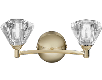 Franklite Twista 2 Light Wall Light, Brass With Clear Crystal Glasses - FL2230/2