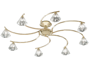 Franklite Twista 8 Light Semi Flush Ceiling Light, Brass With Clear Crystal Glasses - FL2230/8