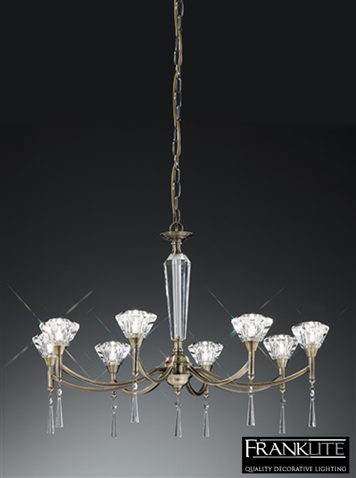 Franklite Desian Crystal And Antique Bronze 8 Light
