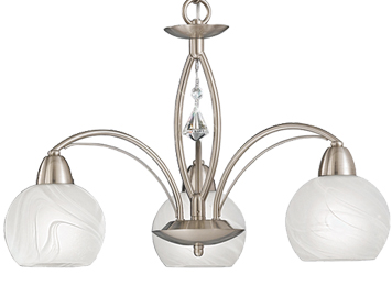 Franklite Thea 3 Light Ceiling Light, Satin Nickel With Alabaster Glass Shades - FL2277/3