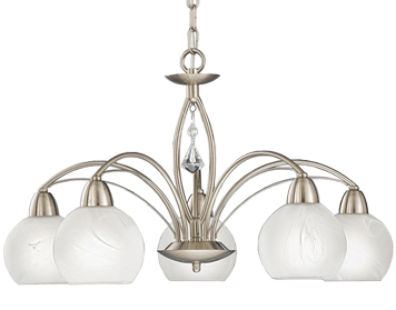 Franklite Thea 5 Light Ceiling Light, Satin Nickel With Alabaster Glass Shades - FL2277/5
