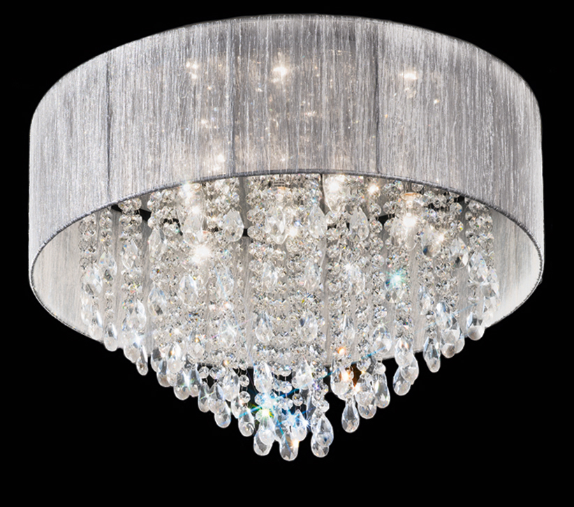 Franklite royale 7 light flush ceiling light chrome finish with crystal glass drops surrounded by a textured fabric shade fl2281 7