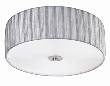 Franklite Lucera (400mm) 3 Light Flush Ceiling Light, Satin Nickel Finish With Translucent Textured Silver Fabric Shade - FL2283/3