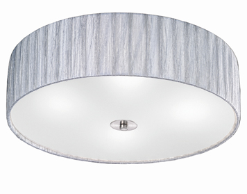 Franklite Lucera (500mm) 4 Light Flush Ceiling Light, Satin Nickel Finish With Translucent Textured Silver Fabric Shade - FL2283/4