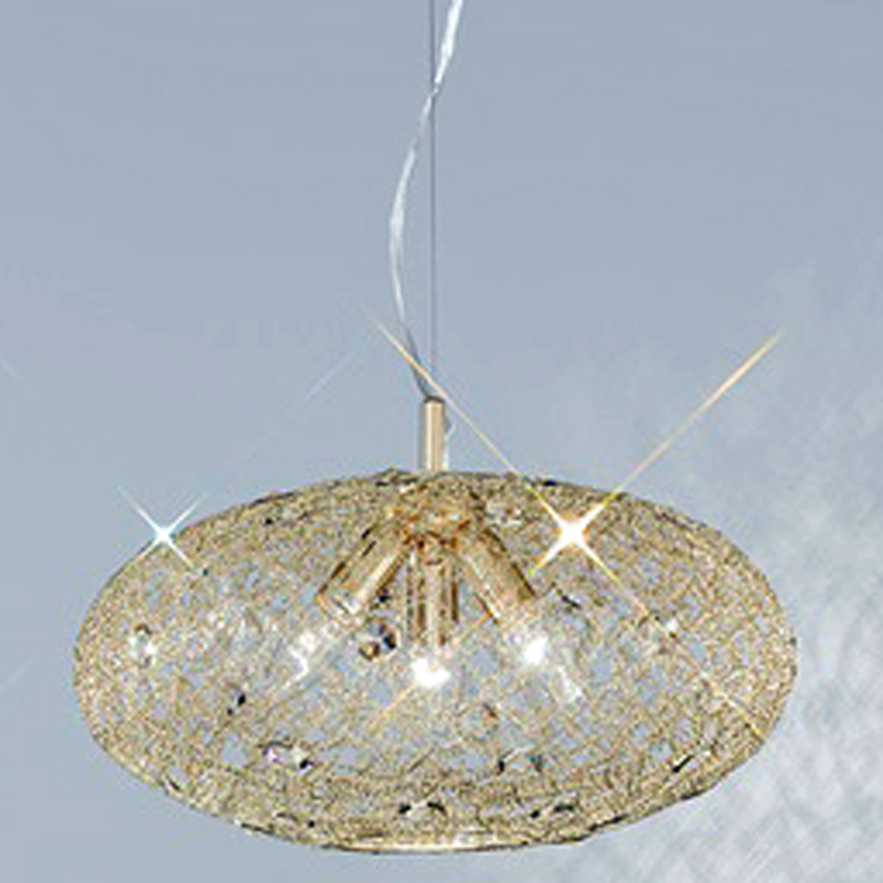 Franklite 'Sirius' 3 Light Gold Finish & Crystal Glass, Ø 400mm Pendant Ceiling Fitting - FL2286/3