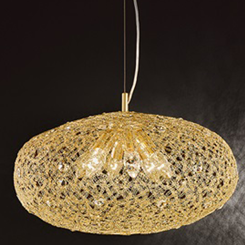 Franklite Sirius 6 Light Gold Finish & Crystal Glass, Ø 480mm Pendant Ceiling Fitting - FL2286/6