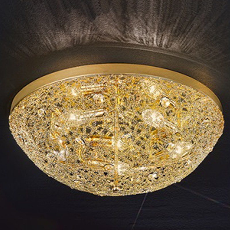 Flush ceiling lights crystal and glass from easy lighting franklite sirius gold finish crystal glass 500mm 5 light flush ceiling aloadofball Images