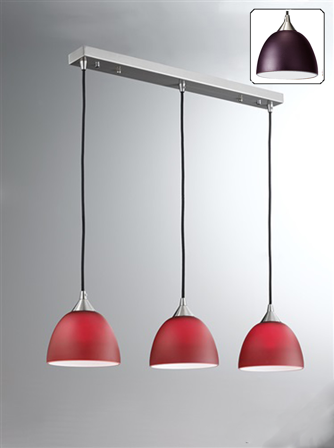 Franklite Vetross Red White Amp Satin Nickel IP20 3 Light