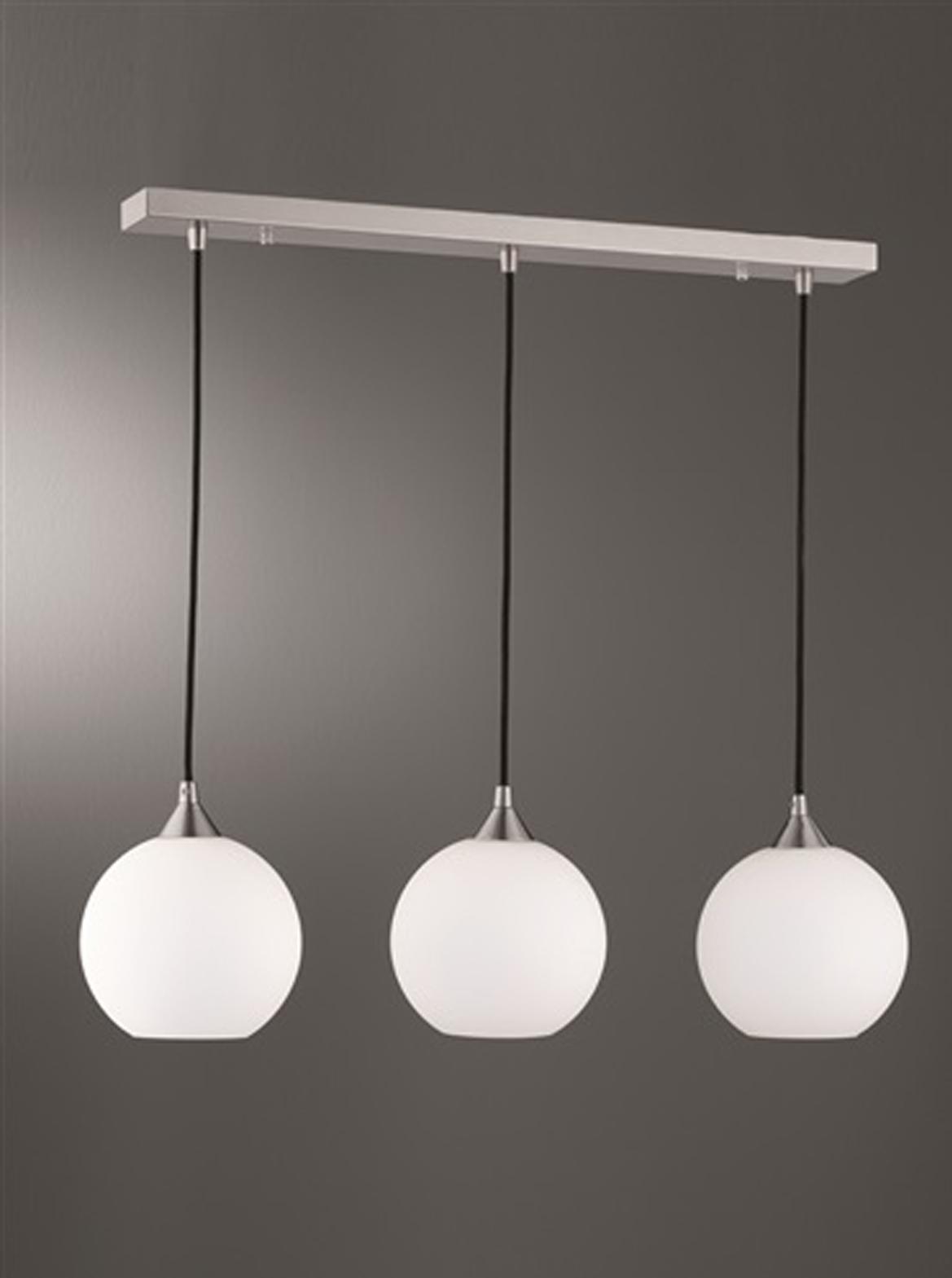 Franklite u0026#39;Vetross Iceu0026#39; 3 Light Bar Ceiling Pendant Satin Nickel - FL2290/3/986 from Easy Lighting