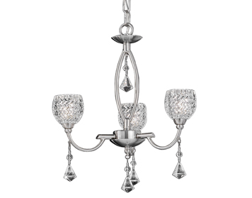 Franklite Sherrie 3 Light Ceiling Fitting, Satin Nickel Finish With Small Glasses & Faceted Crystal Glass Drops - FL2292/3