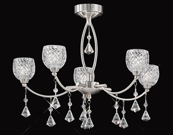 Franklite Sherrie 5 Light Ceiling Light, Satin Nickel Finish With Small Glasses & Faceted Crystal Glass Drops - FL2292/5