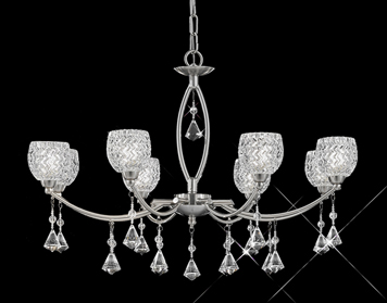 Franklite Sherrie 8 Light Ceiling Light, Satin Nickel Finish With Small Glasses & Faceted Crystal Glass Drops - FL2292/8
