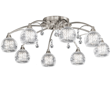Franklite Jura 8 Light Semi Flush Ceiling Light, Satin Nickel Finish With Small Glass Bowls & Faceted Crystal Drops - FL2295/8