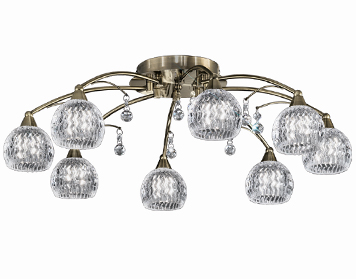 Franklite Jura 8 Light Flush Ceiling Light, Bronze Finish With Small Glass Bowls & Faceted Crystal Drops - FL2296/8