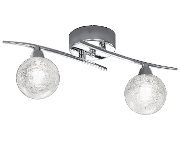 Franklite Shardice 2 Light Wall Or Ceiling Light, Chrome Finish With Clear Glass Spheres Filled With Spun Glass Strands - FL2297/2