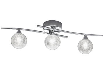 Franklite Shardice 3 Light Ceiling Light, Chrome Finish With Clear Glass Spheres Filled With Spun Glass Strands - FL2297/3