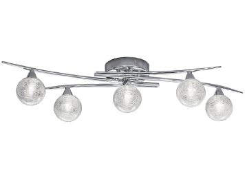 Franklite Shardice 5 Light Ceiling Light, Chrome Finish With Clear Glass Spheres Filled With Spun Glass Strands - FL2297/5