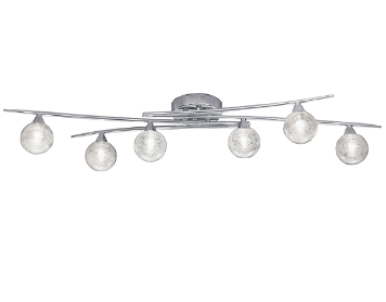 Franklite Shardice 6 Light Ceiling Light, Chrome Finish With Clear Glass Spheres Filled With Spun Glass Strands - FL2297/6