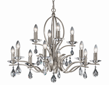 Franklite Willow 12 Light Ceiling Light, Satin Nickel Finish With Crystal Glass Drops - FL2298/12
