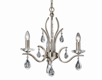 Franklite Willow 3 Light Ceiling Light, Satin Nickel Finish With Crystal Glass Drops - FL2298/3