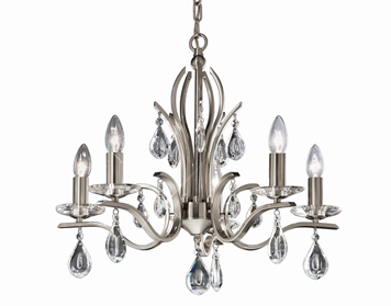 Franklite Willow 5 Light Ceiling Light, Satin Nickel Finish With Crystal Glass Drops - FL2298/5