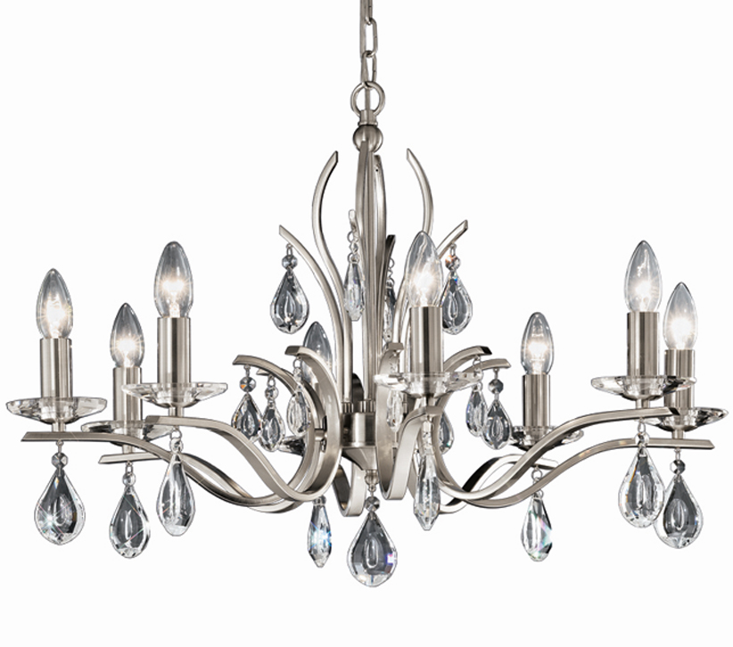 franklite willow 8 light ceiling light satin nickel finish with