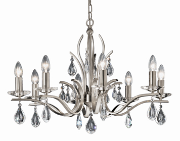 Franklite Willow 8 Light Ceiling Light, Satin Nickel Finish With Crystal Glass Drops - FL2298/8