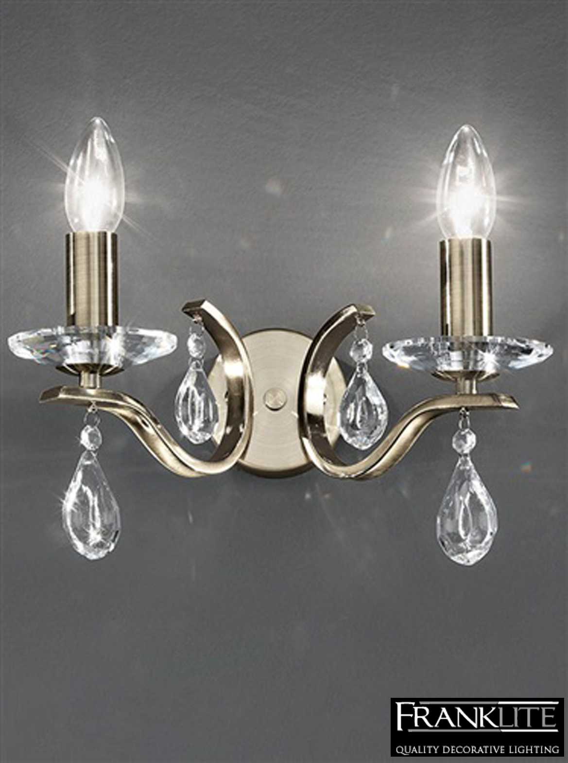 Franklite Crystal Wall Lights : Franklite Willow Crystal And Antique Bronze Twin Wall Light - FL2299/2 from Easy Lighting