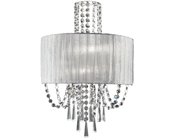 Franklite Empress 2 Light Wall Light, Chrome With Crystal Glass Drops - FL2303/2