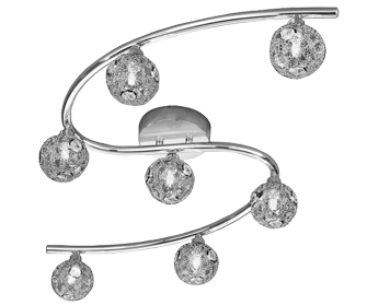 Franklite Horologica 7 Light Wall Or Ceiling Light, Chrome With Crystal Glass - FL2305/7
