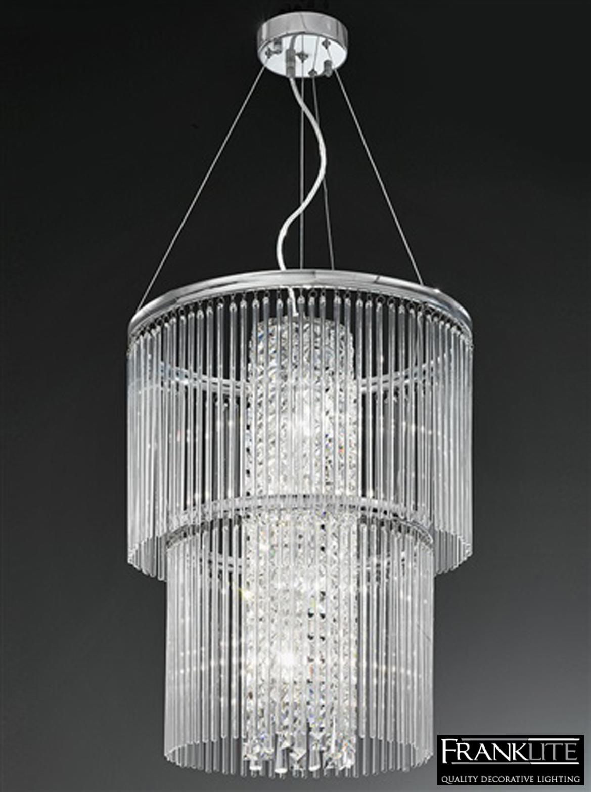 franklite charisma chrome crystal 4 light 2 tier pendant ceiling