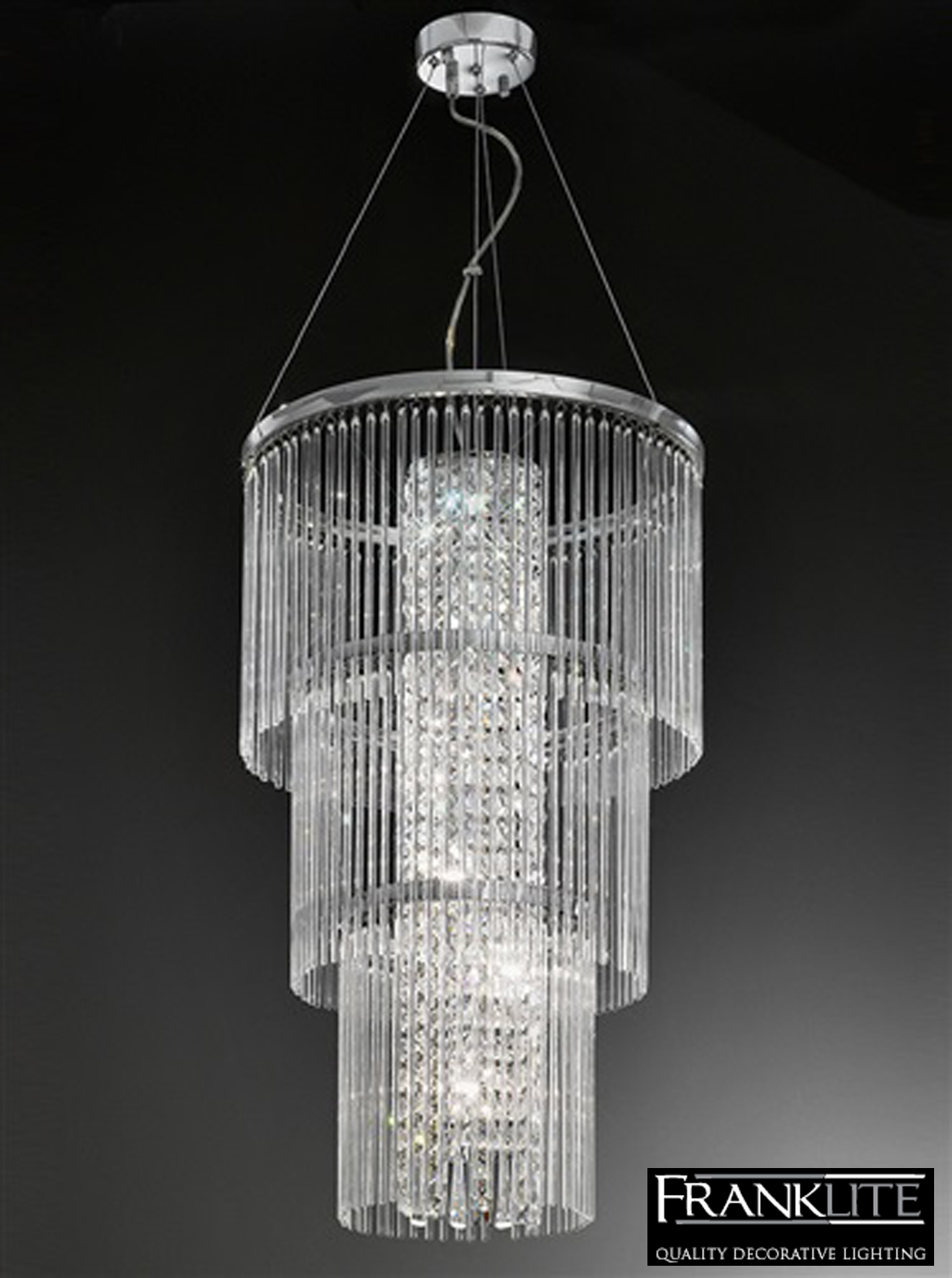 franklite charisma chrome crystal 6 light 3 tier pendant cei