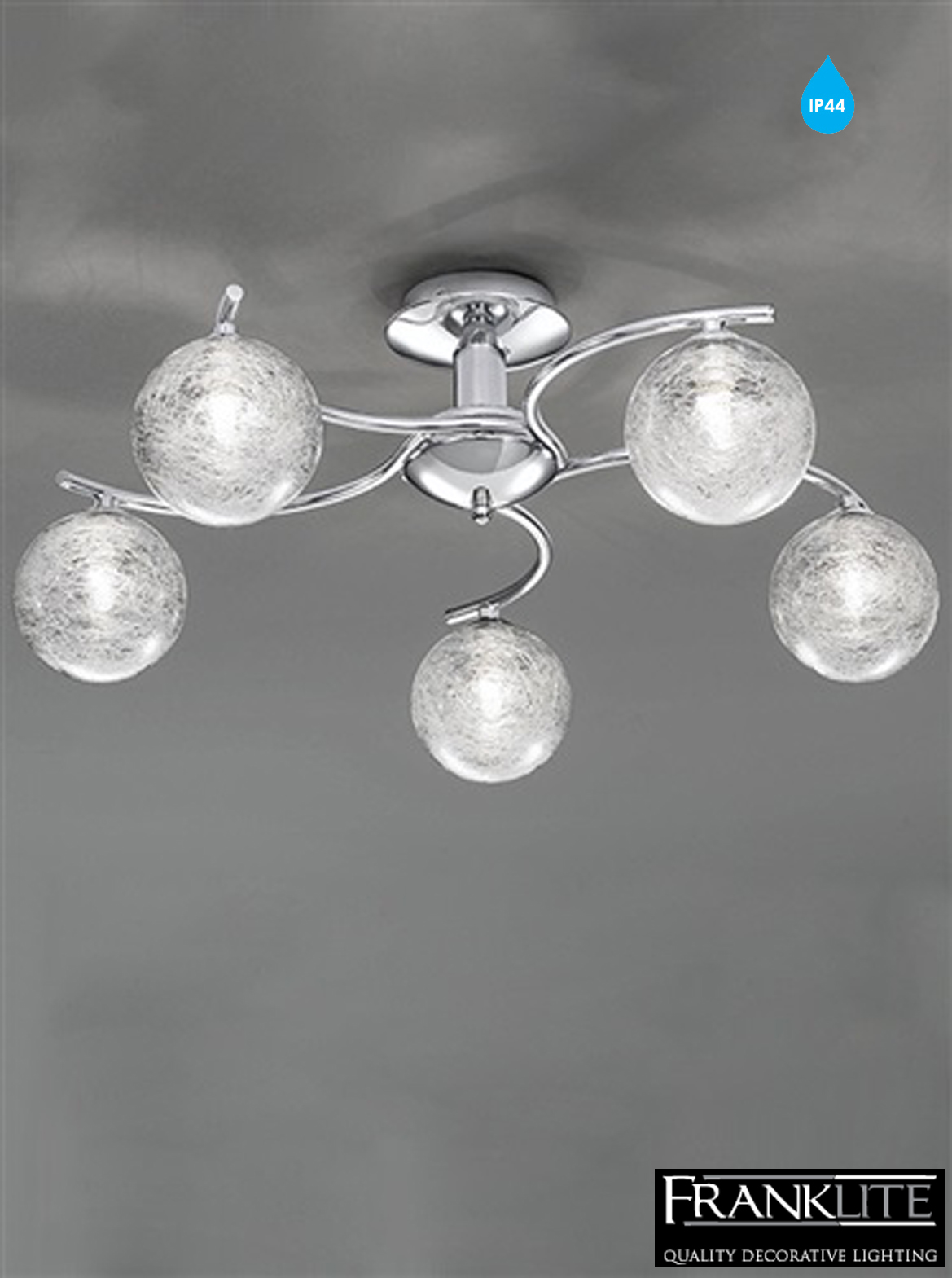 Bathroom Chandeliers Ip44 franklite glass & chrome 5 light ip44 bathroom ceiling fitting