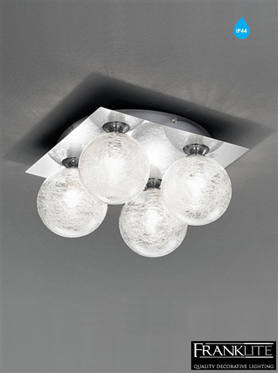 Bathroom Ceiling Lights Ip44 : Franklite glass chrome square light ip bathroom