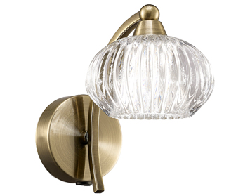 Franklite Ripple 1 Light Switched Wall Light, Bronze Finish With Clear Ribbed Glasses - FL2336/1