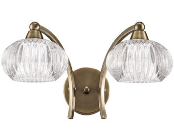 Franklite Ripple 2 Light Switched Wall Light, Bronze Finish With Clear Ribbed Glasses - FL2336/2