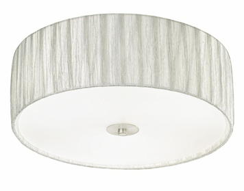 Franklite Desire (400mm) 3 Light Flush Ceiling Light, Satin Nickel Finish With Translucent Textured Cream Fabric Shade - FL2341/3