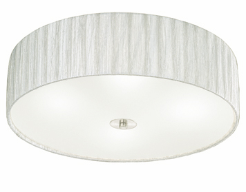 Franklite Desire (500mm) 4 Light Flush Ceiling Light, Satin Nickel Finish With Translucent Textured Cream Fabric Shade - FL2341/4